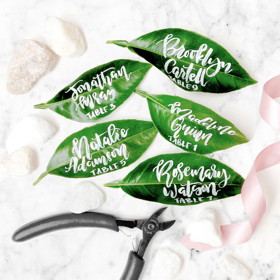 Calligraphy Leaf Place Cards
