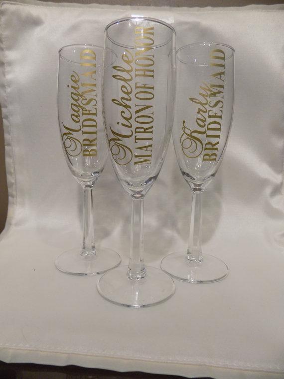 Custom Bridal Party Champagne Glasses