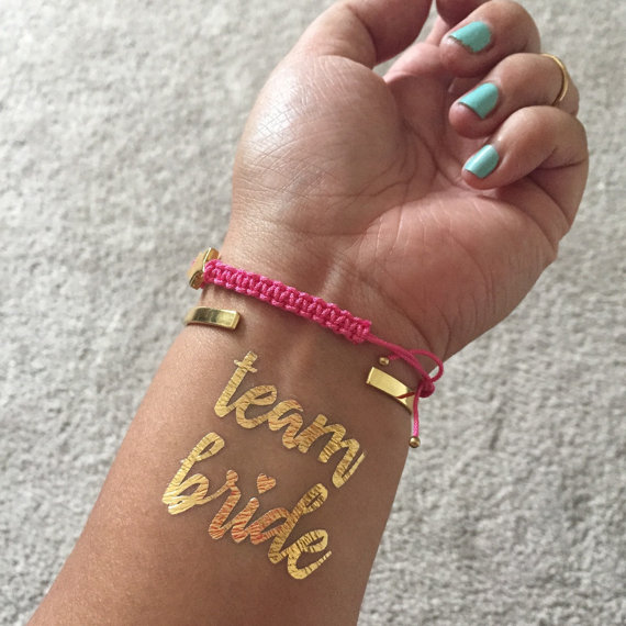 Gold Metallic Team Bride Tattoo