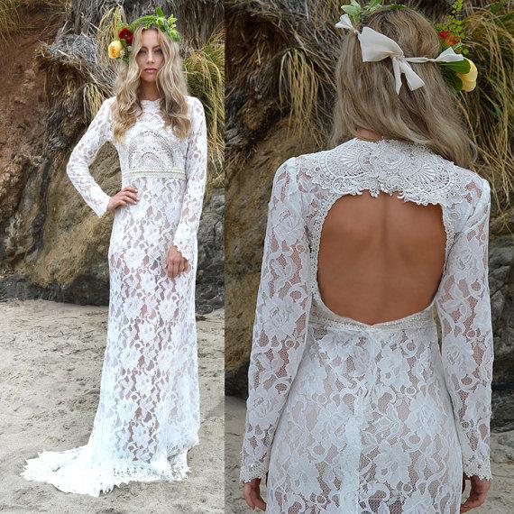 Sheer Lace Back Cut Out Boho Wedding Dress