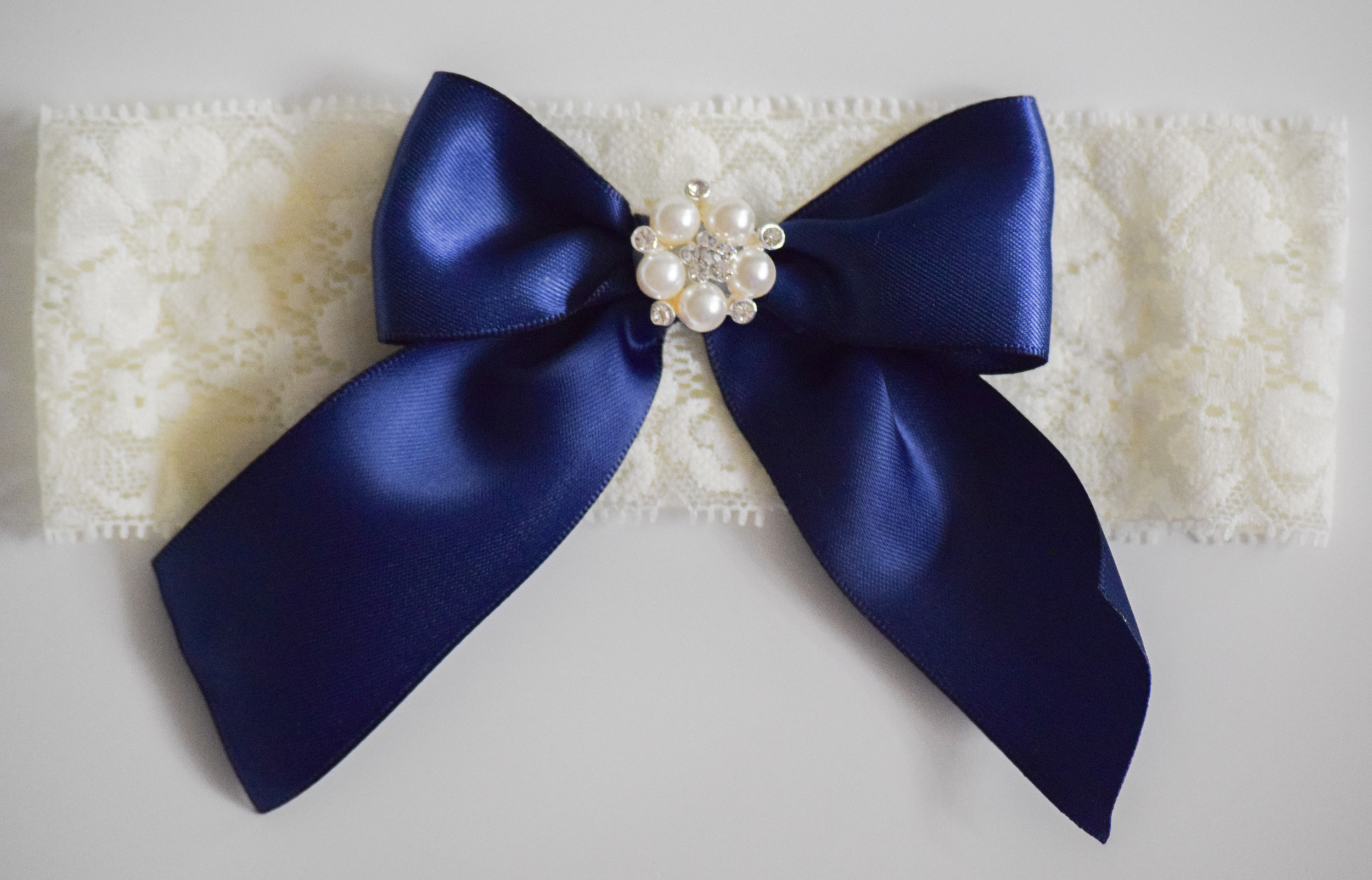 Something Blue Lace Rhinestone Garter Set by Ella Winston