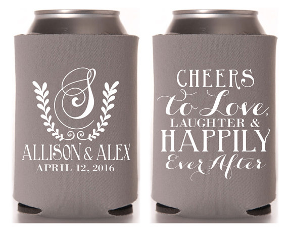 monogrammed wedding items - wedding koozies