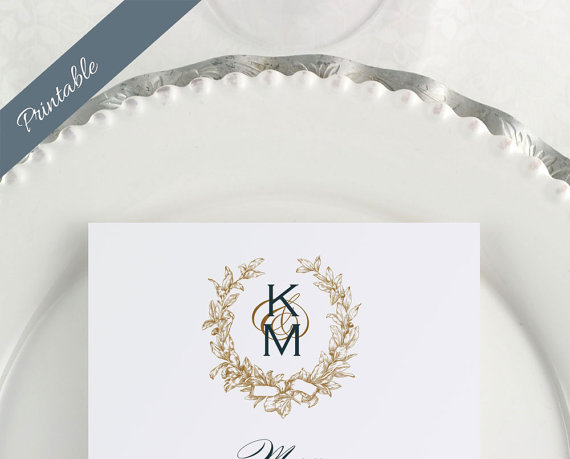 monogrammed wedding items - DIY wedding menu cards