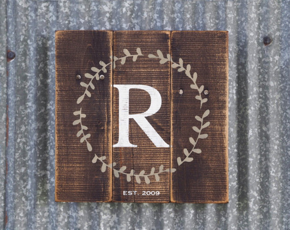 monogrammed wedding items - wooden rustic guest book alternative
