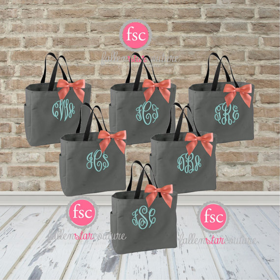 monogrammed wedding items - bridesmaid bachelorette bags