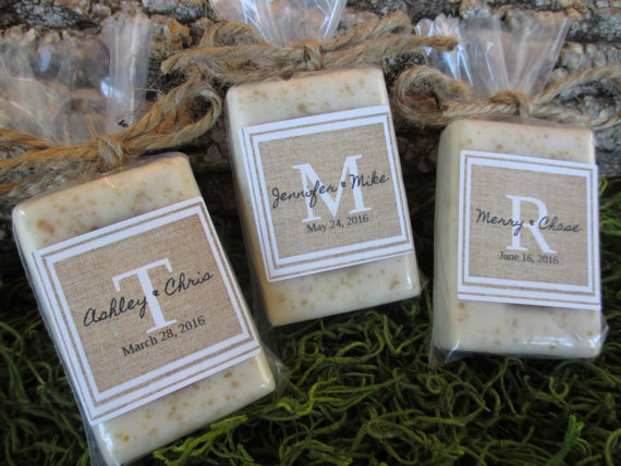 monogrammed wedding items -homemade soap wedding favor ideas