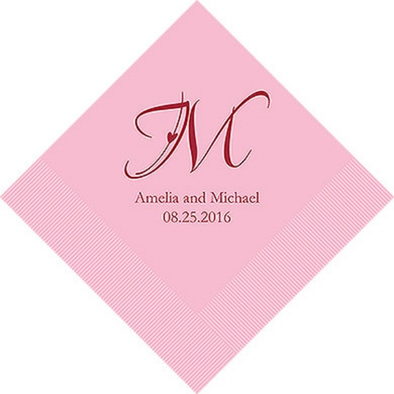 monogrammed wedding items - personalized wedding cocktail napkins