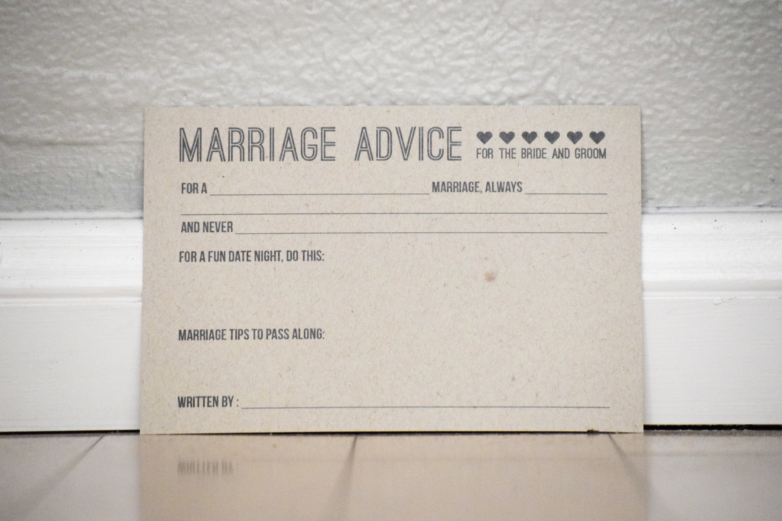 wedding advice cards, advice for the bride and groom - guest book alternative