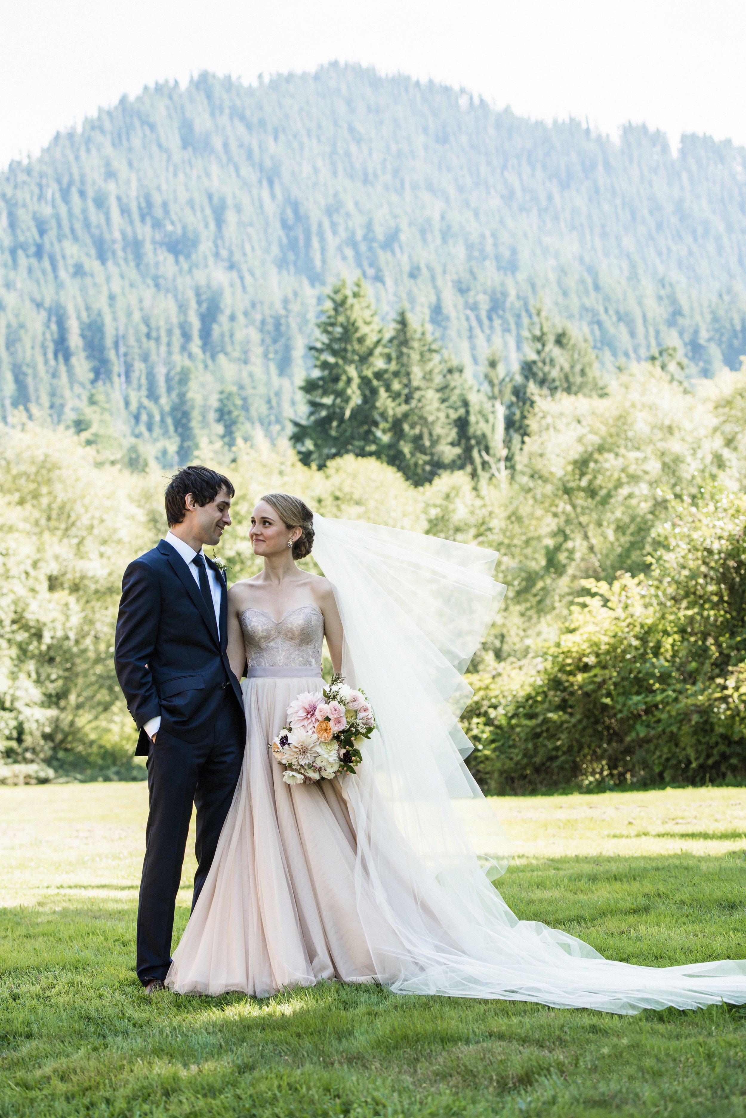 Soft Blue + Blush Forest Wedding
