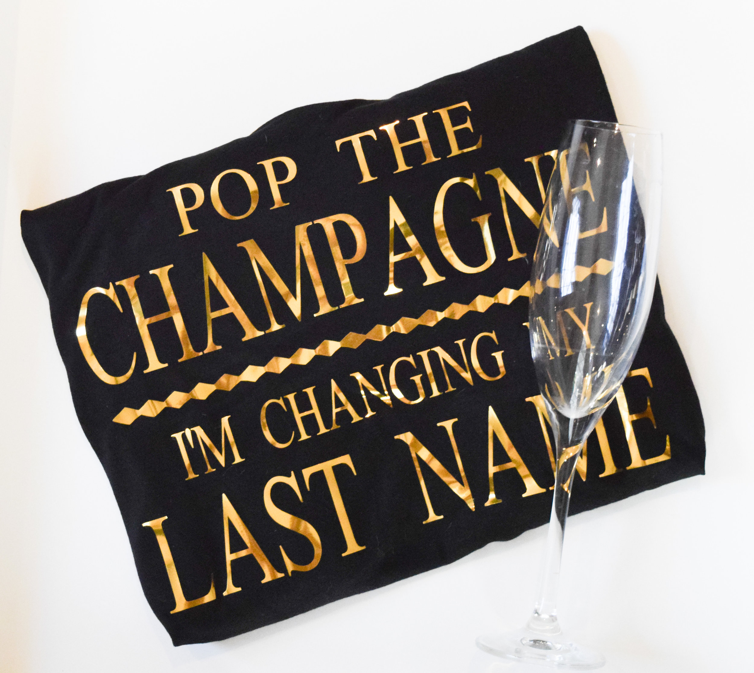 Bride to Be T Shirts - Bride Off the Shoulder Shirt - Pop the champagne, I'm changing my last name!