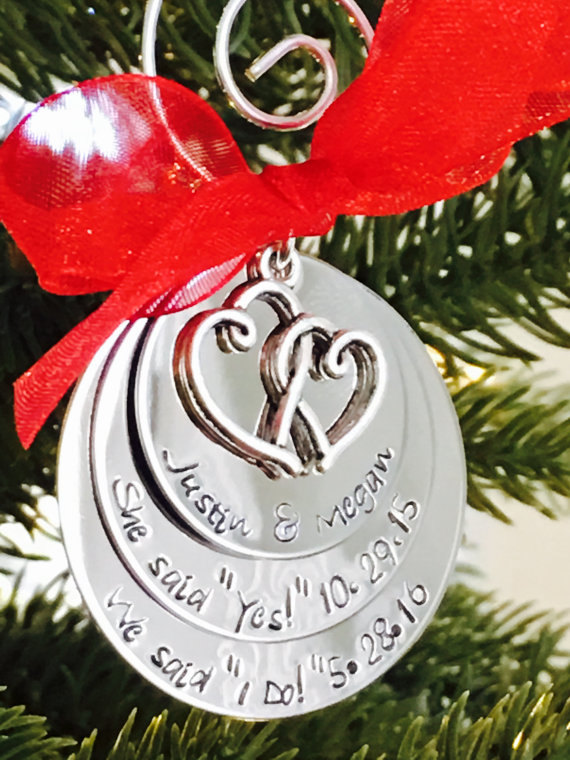 Newlywed + Newly Engaged Christmas Tree Ornaments