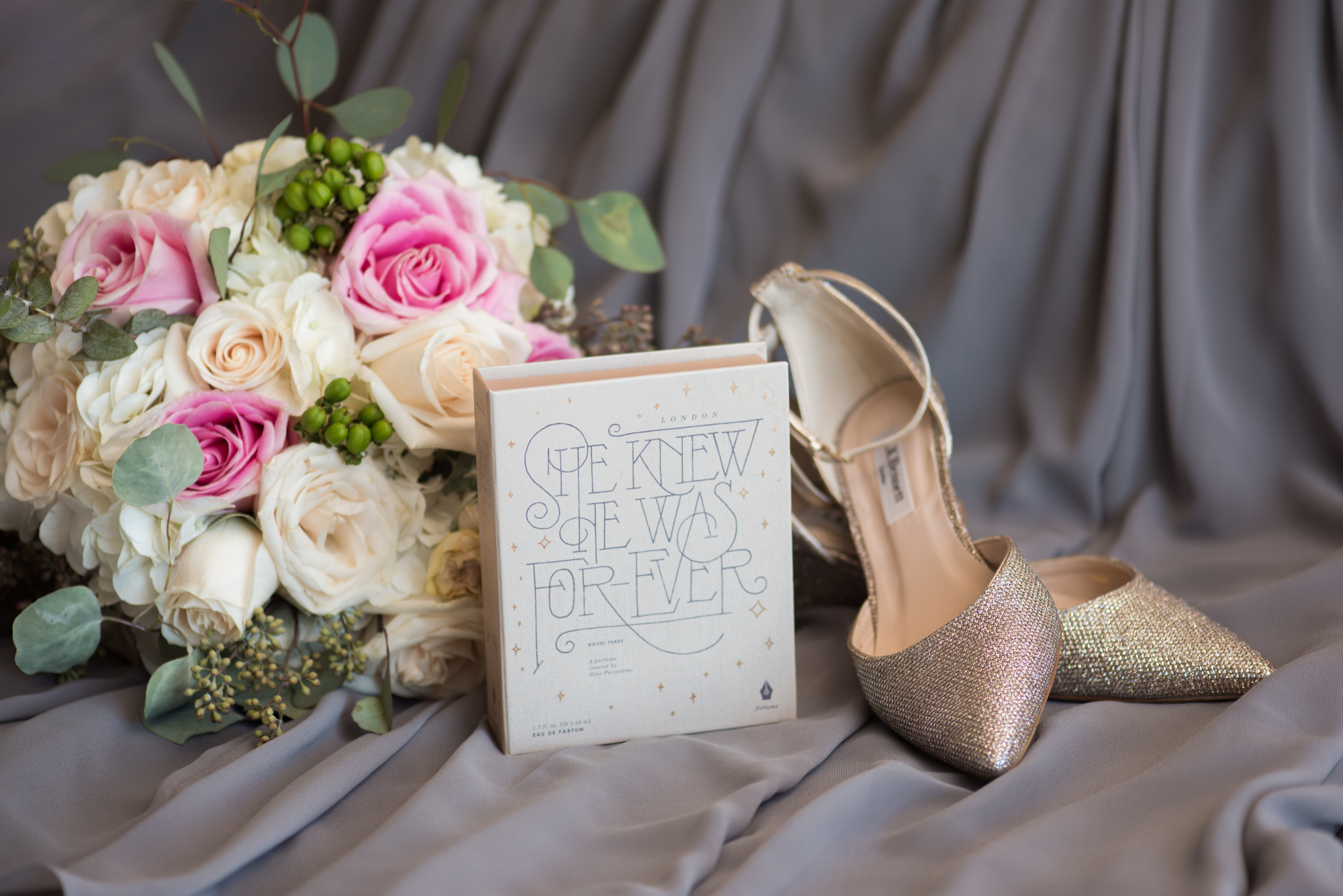 Pink + White Wedding Bouqut, Gold Wedding Shoes - Travel Themed Wedding - Caitlin Gerres Photography