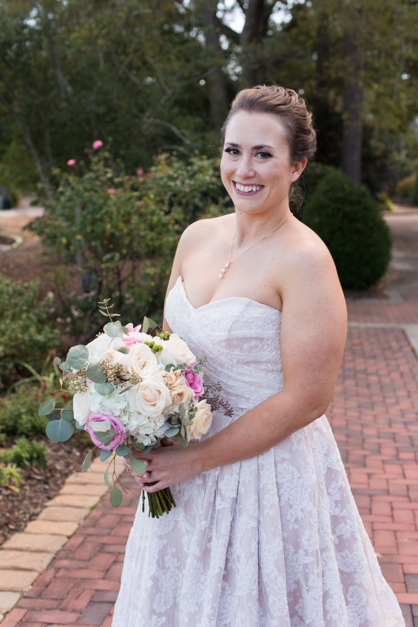 White and Pink Bridal Bouquet - Lace Wedding Dress - Travel Themed Wedding - Caitlin Gerres Photography