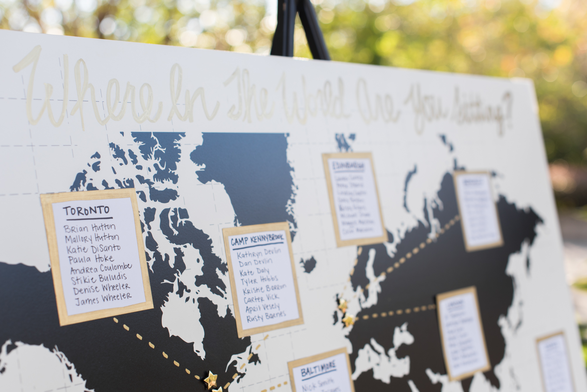Map Seating Chart - Travel Themed Wedding - Caitlin Gerres Photography