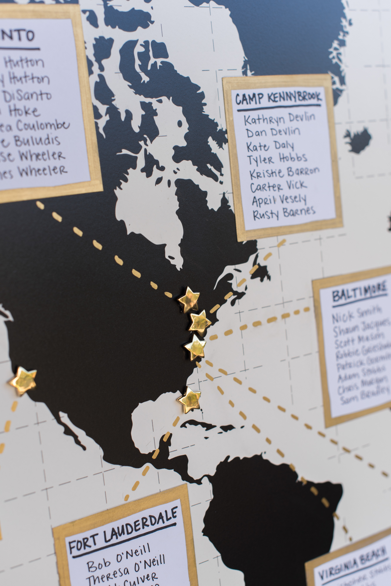 Map Seating Chart- Travel Themed Wedding - Caitlin Gerres Photography