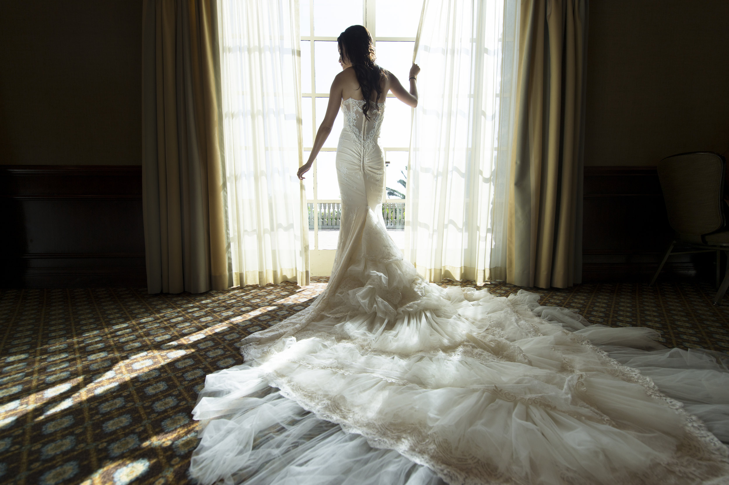 Silhouette Bridal Portrait - A Romantic Bel Air Bay Club Ocean-View Wedding - Southern California Wedding - Kevin Dinh Photography
