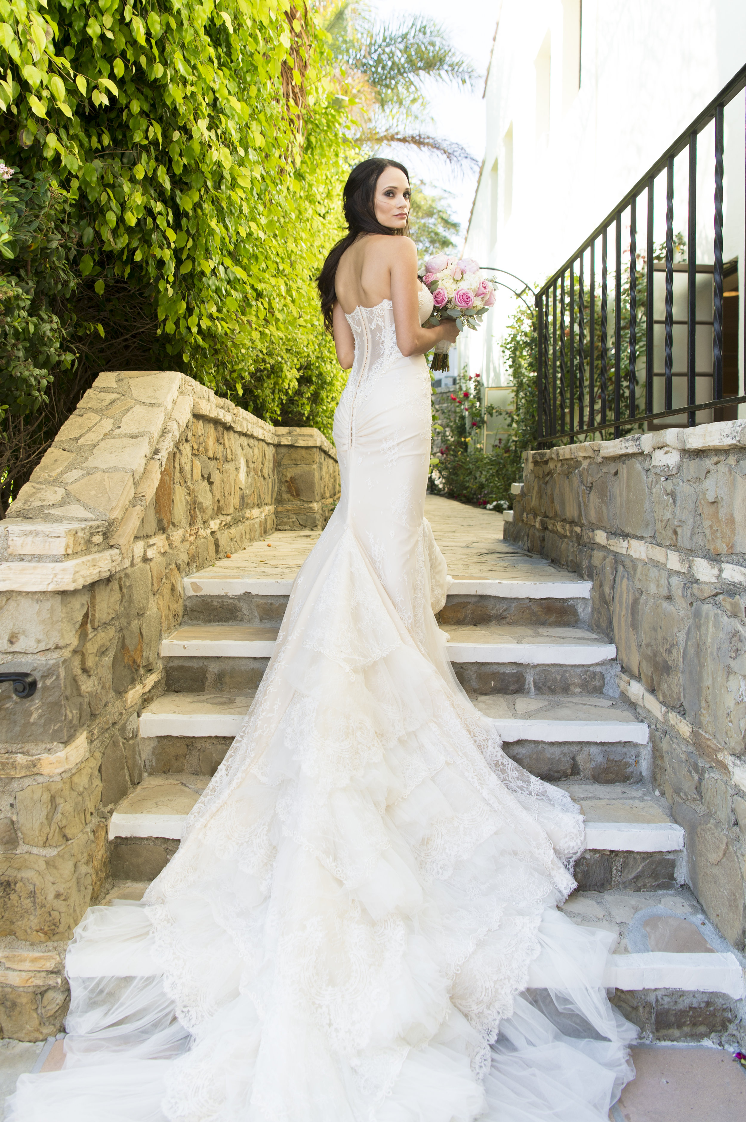 Lace Wedding Dress with Long Train - A Romantic Bel Air Bay Club Ocean-View Wedding - Southern California Wedding - Kevin Dinh Photography