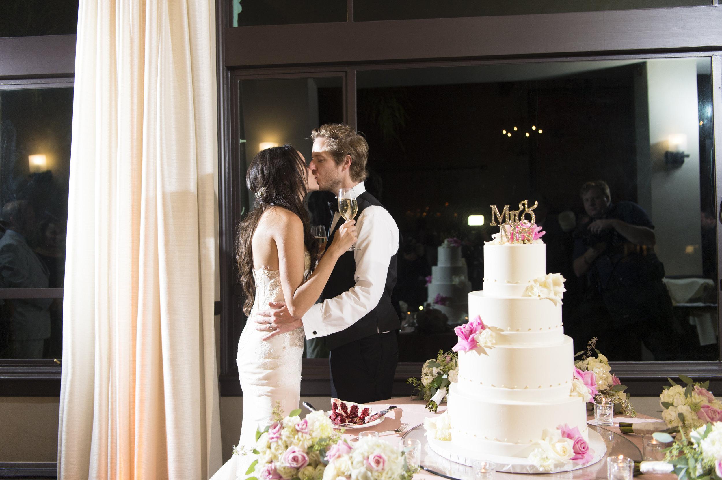 Wedding Cake Cutting - A Romantic Bel Air Bay Club Ocean-View Wedding - Southern California Wedding - Kevin Dinh Photography