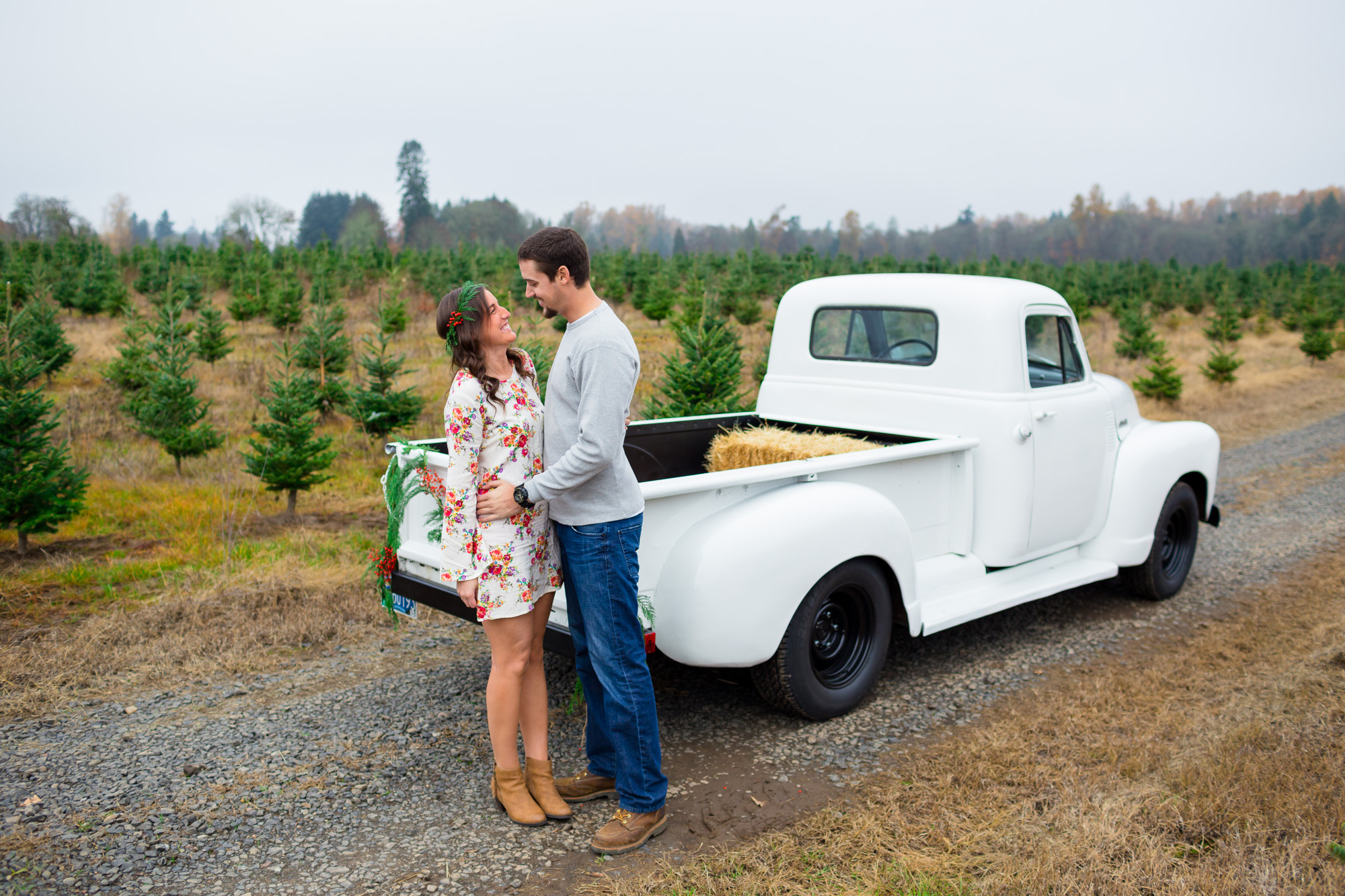 Christmas Tree Farm Engagement Photos by Joshua Rainey Photography