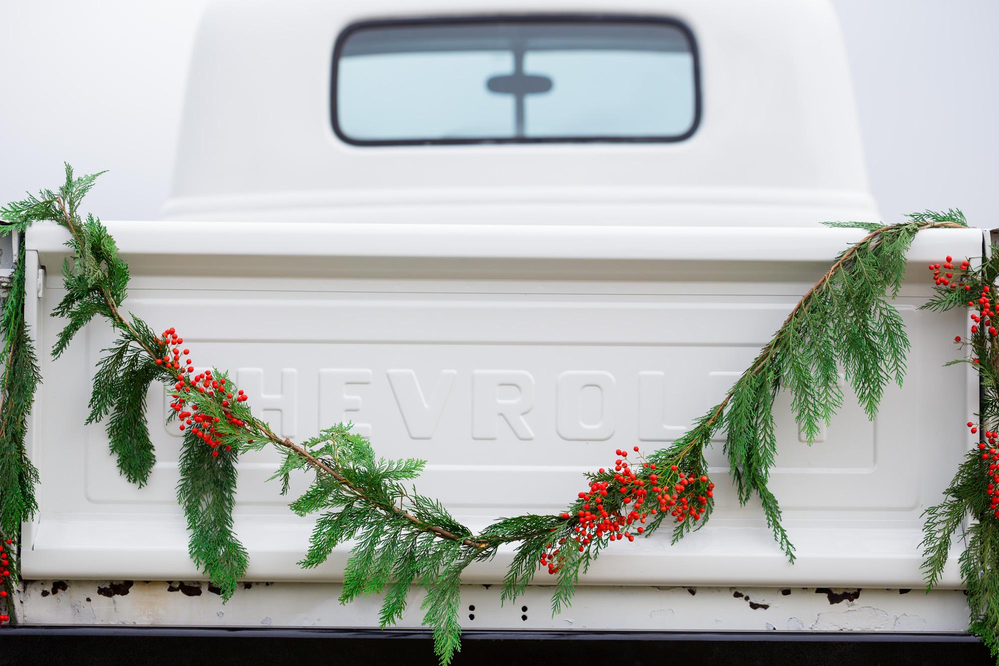 Vintage Chevy Truck Engagement Photos - Christmas Tree Farm Engagement Photos by Joshua Rainey Photography