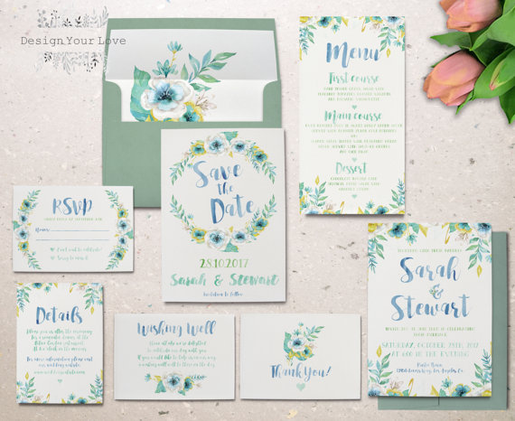 Teal Floral Watercolor Wedding Invitations