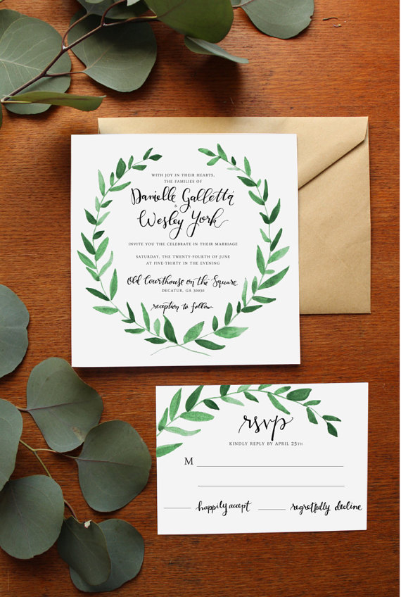 Green Foliage Watercolor Wedding Invitations