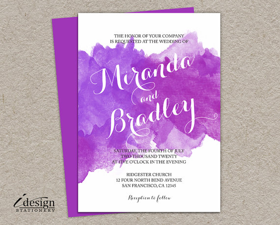 Purple Watercolor Wedding Invitations