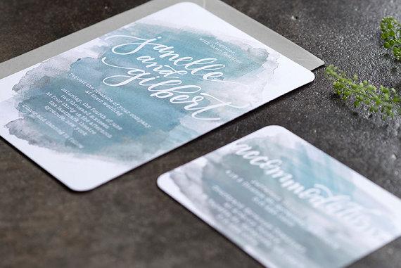 Turquoise Watercolor Wedding Invitations
