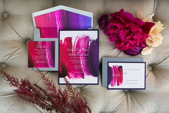 Colorful Watercolor Wedding Invitations