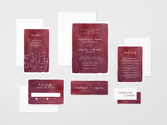 Red Watercolor Wedding Invitations