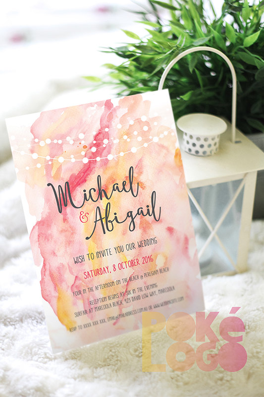 Peach and Yellow Watercolor Wedding Invitations
