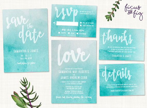 Teal Watercolor Wedding Invitations