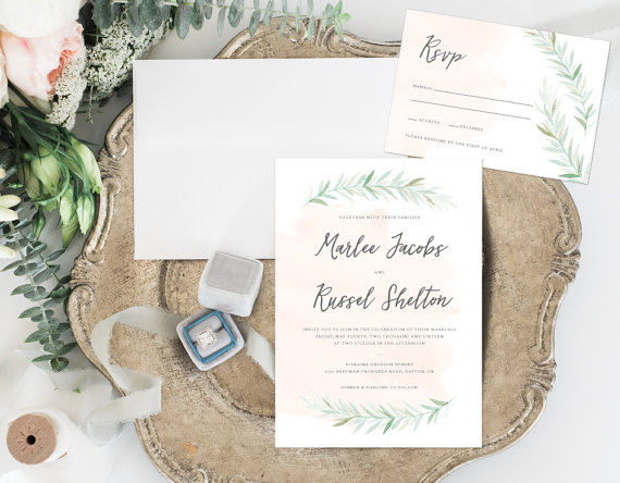 Rustic Peach Watercolor Wedding Invitations