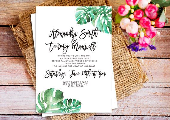 Green Leaves Watercolor Wedding Invitations