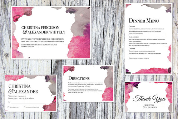 Pink and Purple Watercolor Wedding Invitations