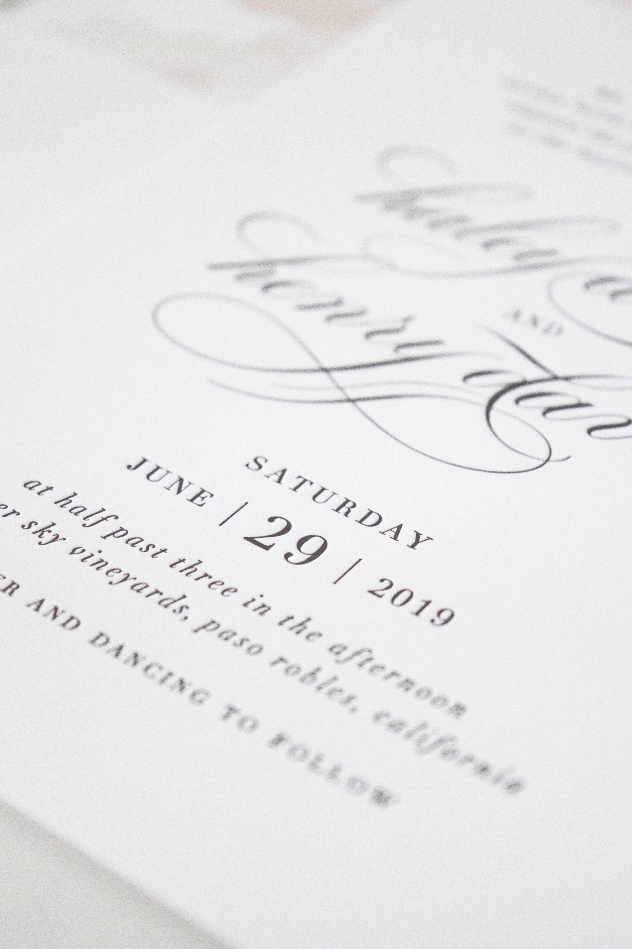 White + Blush Wedding Invitations - Shine Wedding Invitations