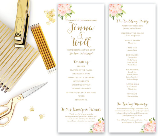 Floral Wedding Programs - Floral Wedding Details