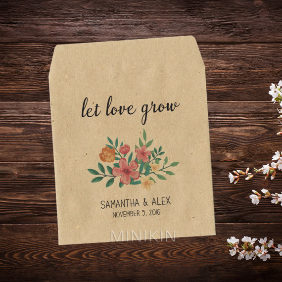Floral Wedding Favor Bags - Floral Wedding Details