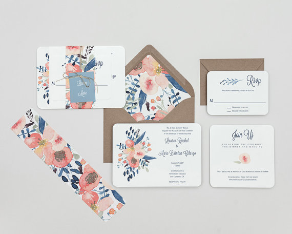 Floral Wedding Invitation Suite - Floral Wedding Details