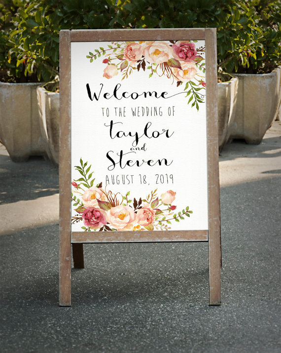 Floral Wedding Sign -Floral Wedding Details