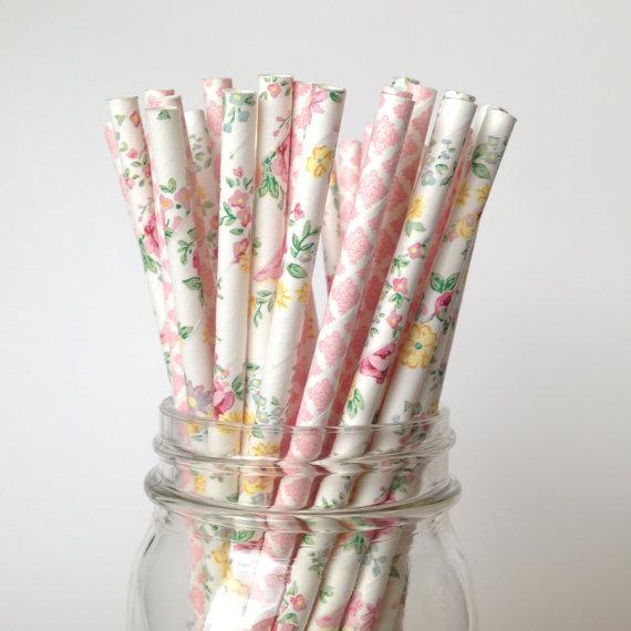 Vintage Floral Print Paper Straws- Floral Wedding Details