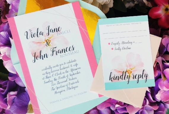 Floral Peony Wedding Invitation