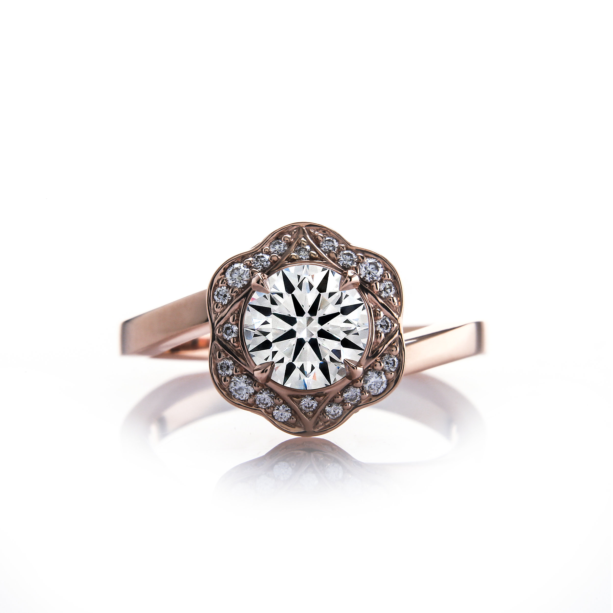 Rose Gold Vintage Style Engagement Rings by Brian Gavin Diamonds - The 810 Collection