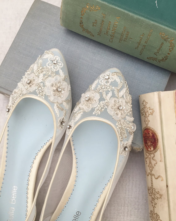 Ivory and Light Blue Bridal Flats -  Beautiful Wedding Flats with Mesh and Flower Embroidery Beads Bridal Shoes - Glass Slipper with 'Something Blue'  Beautiful Wedding Flats with Mesh and Flower Embroidery Beads Bridal Shoes - Glass Slipper with 'Something Blue'