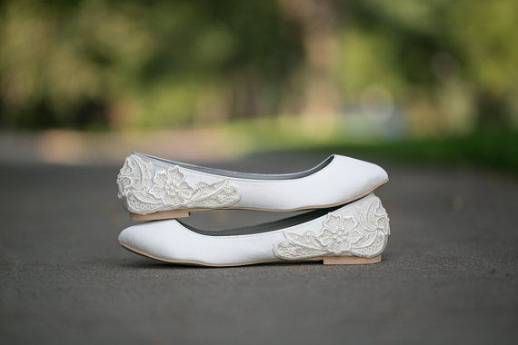 White Bridal Flats - White Bridal Shoes with Floral Applique