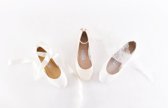 White Wedding Ballet Flats - White Wedding Ballet Shoes with Lace