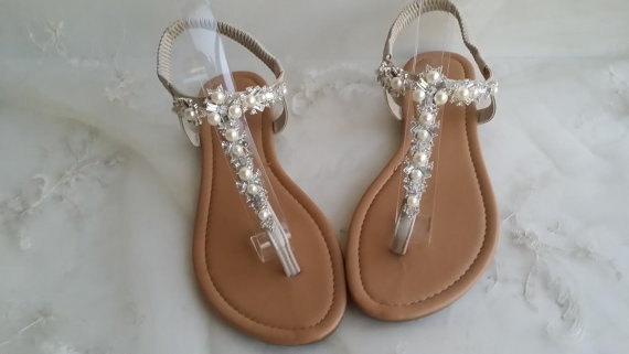 Ivory Wedding Sandals with Crystals and Pearls - Beach Bridal Sandals
