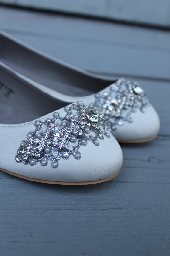White Bridal Flats with Crystals on the Toes