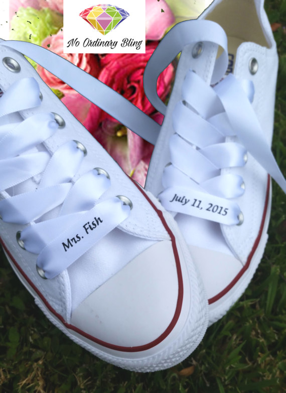 White Bridal Converse with Personalized Ribbon Laces