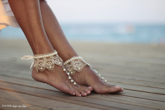Lace and Pearl Barefoot Beach Bridal Shoes